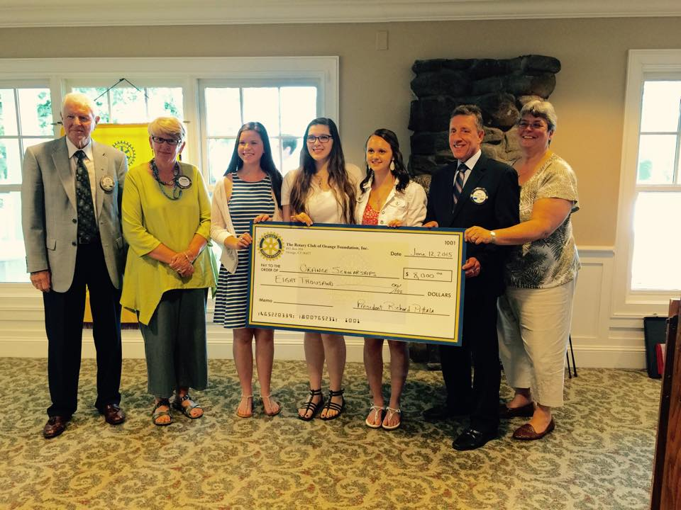 Pictured below: Pictured from left to Right - Donald Lewis, Sharon Ewen, Rachel Marcus, Sarah Killian, Amanda Hudson, Richard Pittala and Diane Eger at 2015 Orange Rotary Scholarship Award Ceremony.