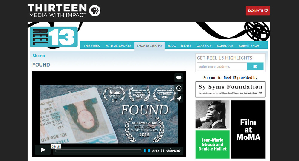 Found is now a part of PBS' Reel 13's shorts library. Go take a look here.