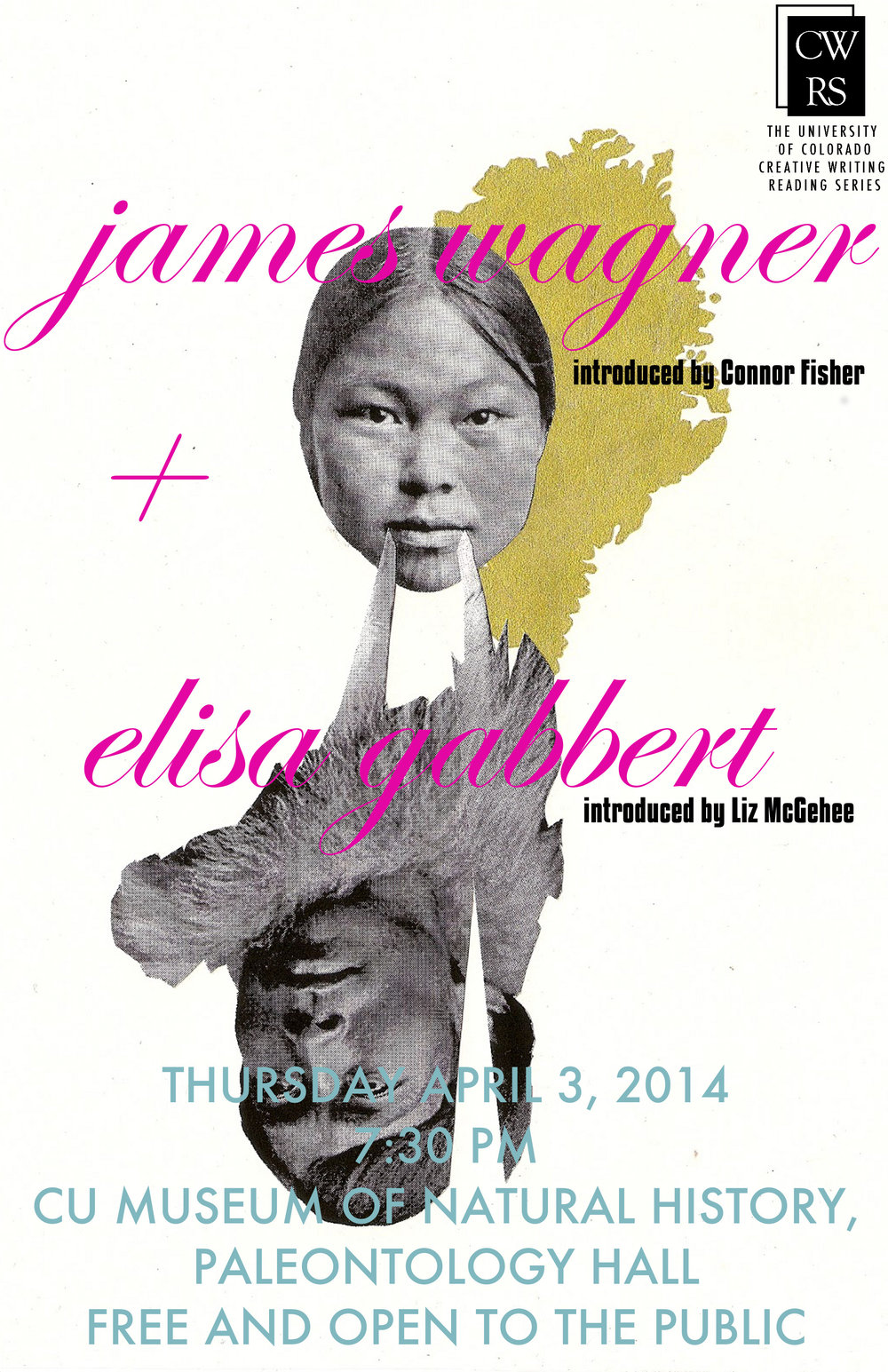 University of Colorado Boulder Creative Writing Reading Series publicity poster, James Wagner and Elisa Gabbert