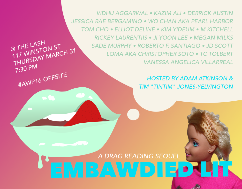 AWP Offsite Reading Event Promo Flyer, Embawdied Lit Drag Reading