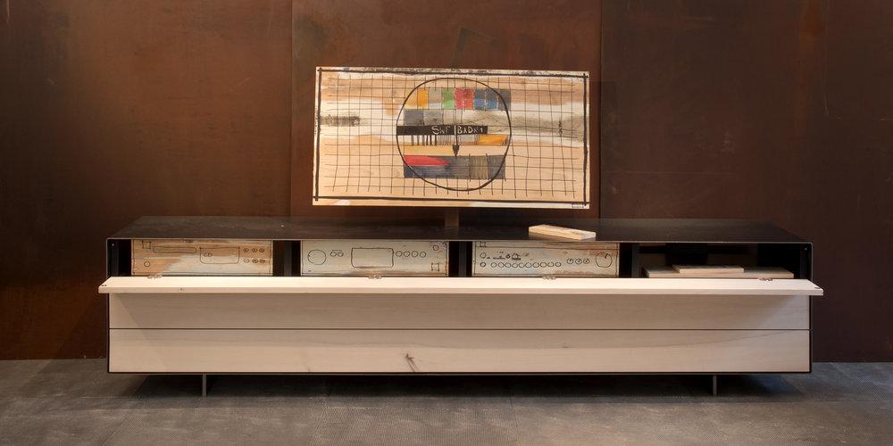 lowboard hainbuche | schwarzstahl; phonoversion