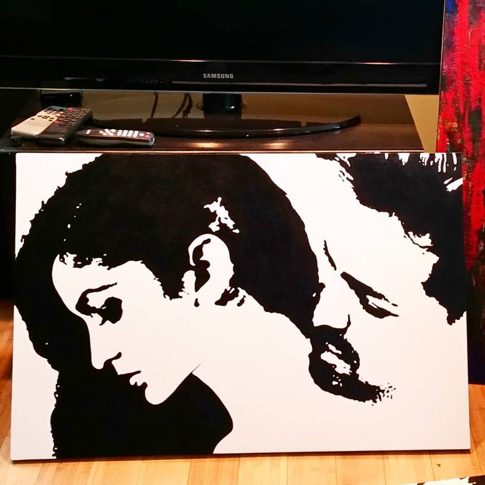 "Custom commission of a client and her husband commemorating a special moment from their wedding.  24"" on 28"" Acrylics on Canvas"