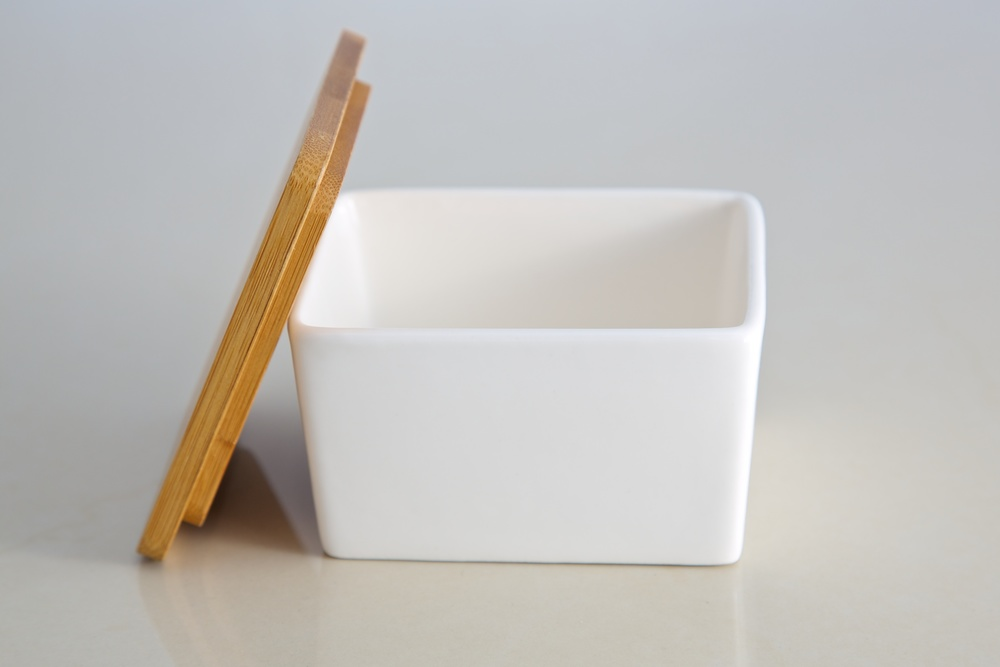 dash of bleu ceramic salt box with wooden lid