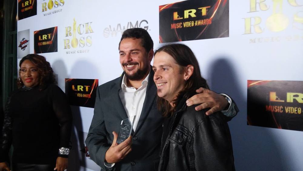 Co-owner/Lead Engineer of Lucent Records, Dustin Lees (Left) with Brandon (Right) shortly after winning the Video of the Year Award at the LRT Music Video Awards