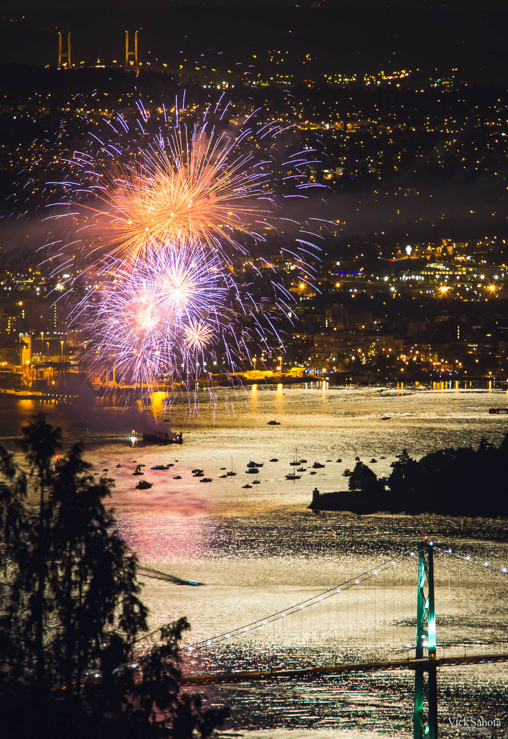 A shot of the Canada Day Fireworks from the Cypress Lookout