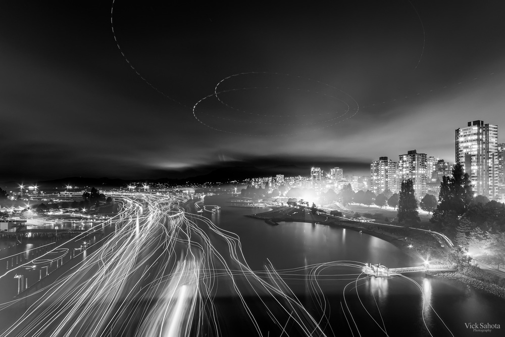 English Bay Light Trails 2015