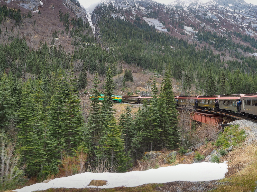 The White Pass Railway train we took from Skagway over the American border into the Yukon.
