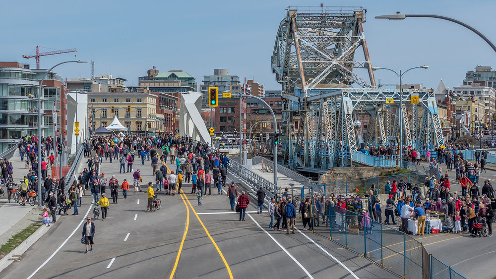 Old and New, Opening of the new Johnson Street bridge.