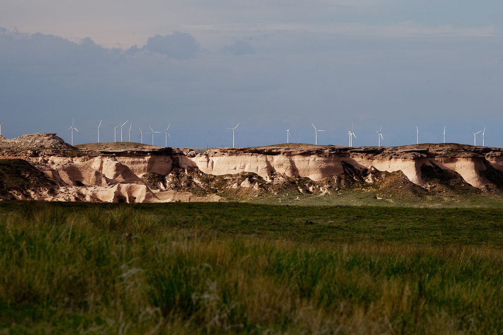 Wind farms are impossible to miss near the Pawnee Buttes.