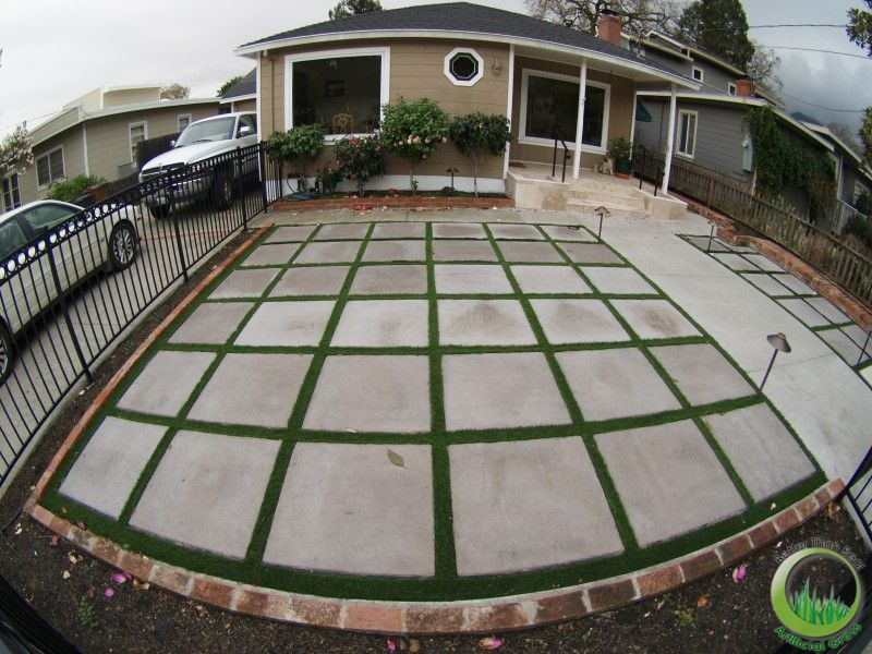 Patio Pavers With Grass In Between Before And After Artificial