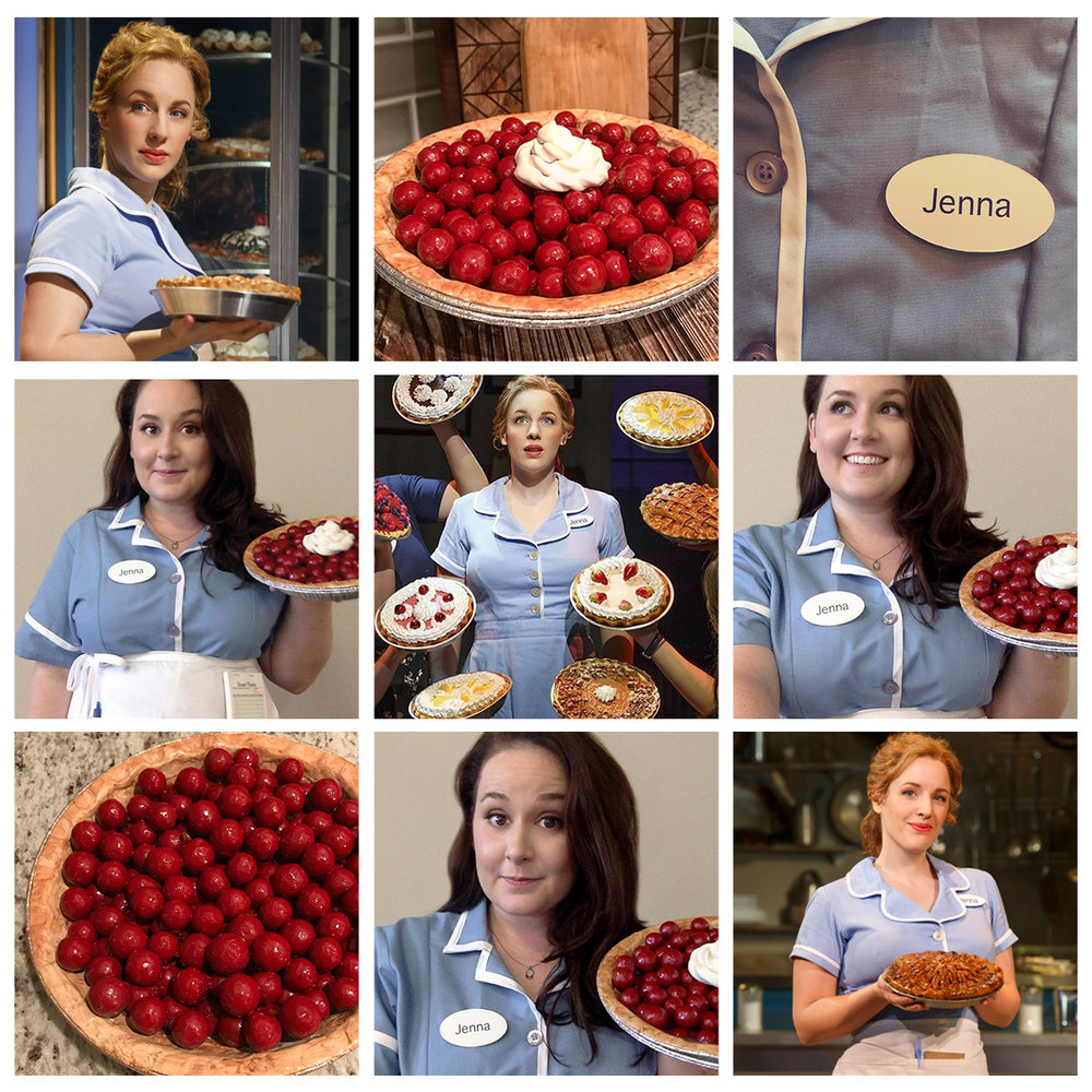 Top-Left, Center, and Bottom-Right: Jessie Mueller as Jenna Hunterson from Waitress, Mid-Left, Bottom-Center, and Mid-Right: Me as Jenna Hunterson. Bottom-Left is a WIP of the pie, Top-Center is the finished pie, complete with a Sculpey dollop of whipped cream.