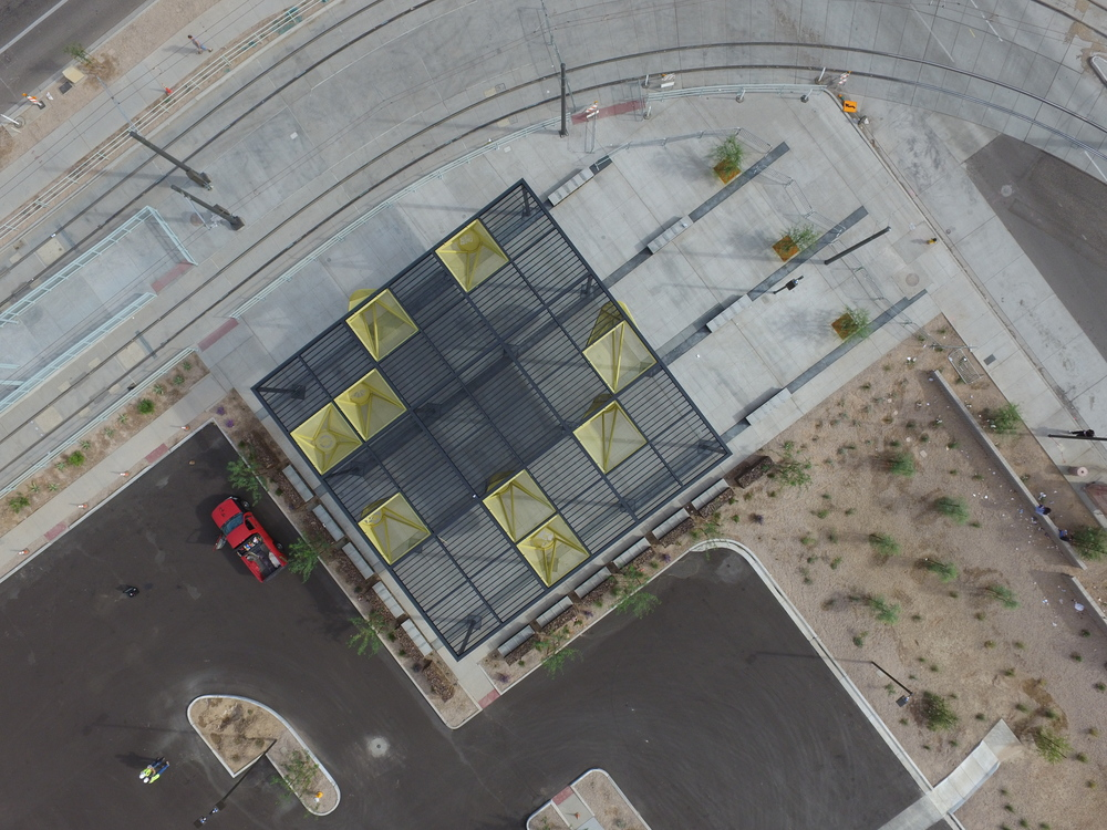 Great Aerial by the GC, Sundt/Stacy and Witbeck Joint Venture of our canopy/shade venue.