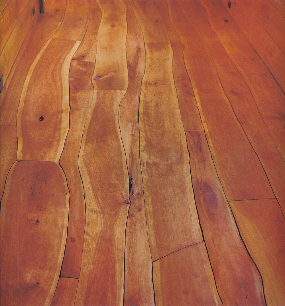 Scribed and crowned natural walnut floor by Allan Shope