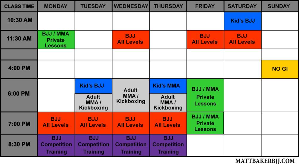 The Mothership BBJJ Southwest Schedule