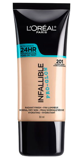 L'OREAL INFALLIBLE PRO-GLOW FOUNDATION - This is the dewiest, glowiest of all my foundations, so if you have extremely dry skin, this one needs to be in your next Target cart. My one complaint about this line: the lightest shade is way too dark for us with very fair skin.