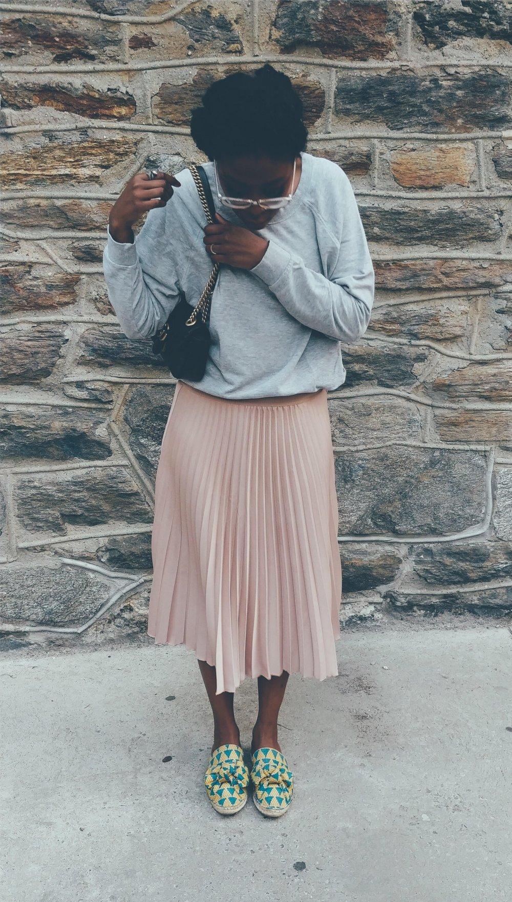 Pink Pleated Skirt Look legs together.jpg