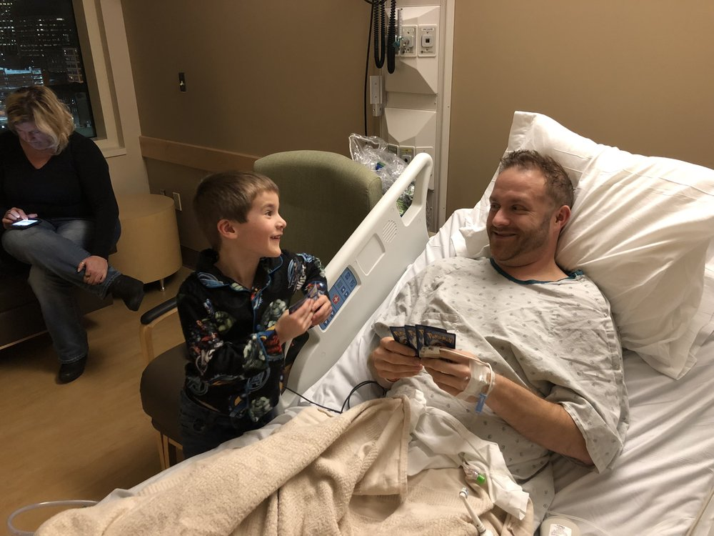 Nick's son visits him after surgery to remove his kidney (and the tumor that, you know, had attached itself to it).
