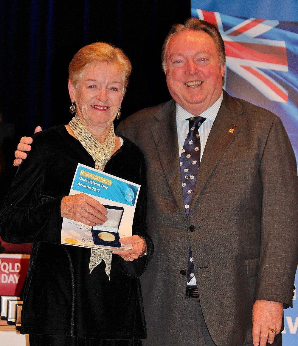 Shirley Horton celebrates her award with Glen Elmes.jpg