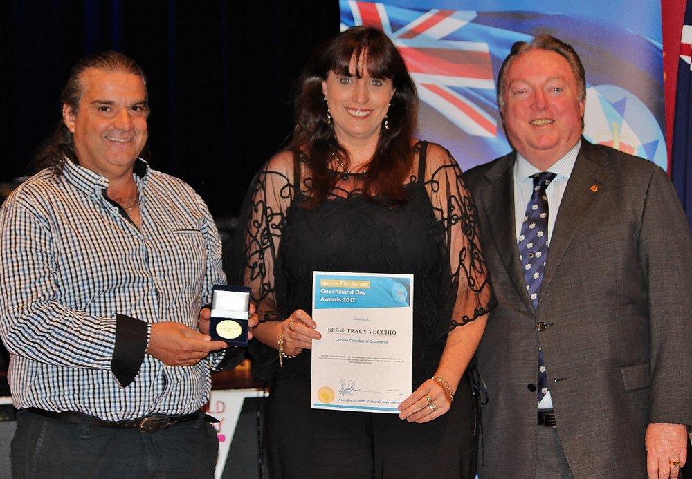 Seb and Tracy Vecchio celebrate their award with Glen Elmes.jpg
