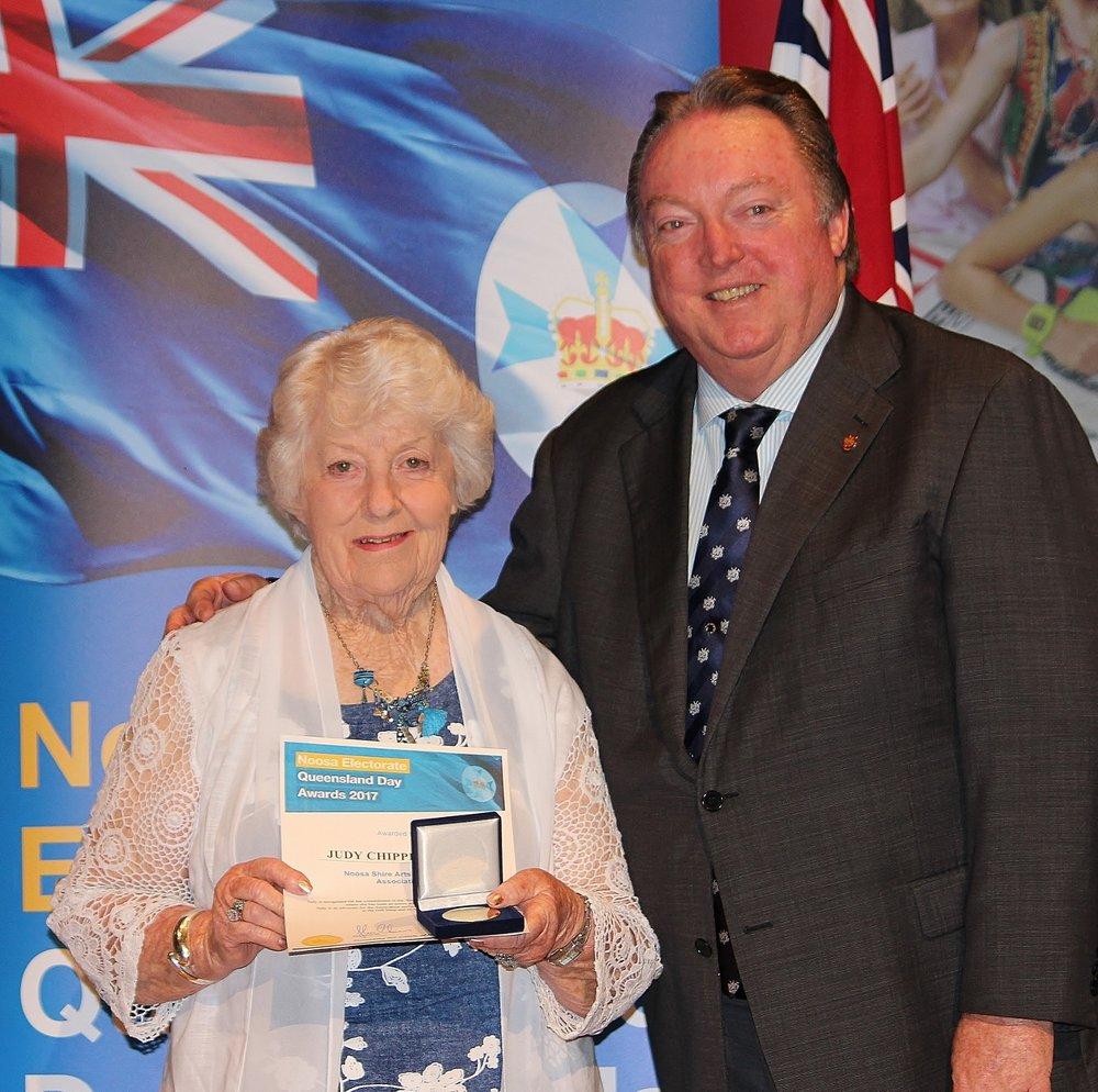 Judy Chipperfield celebrating her award with Glen Elmes (1) - Copy.jpg