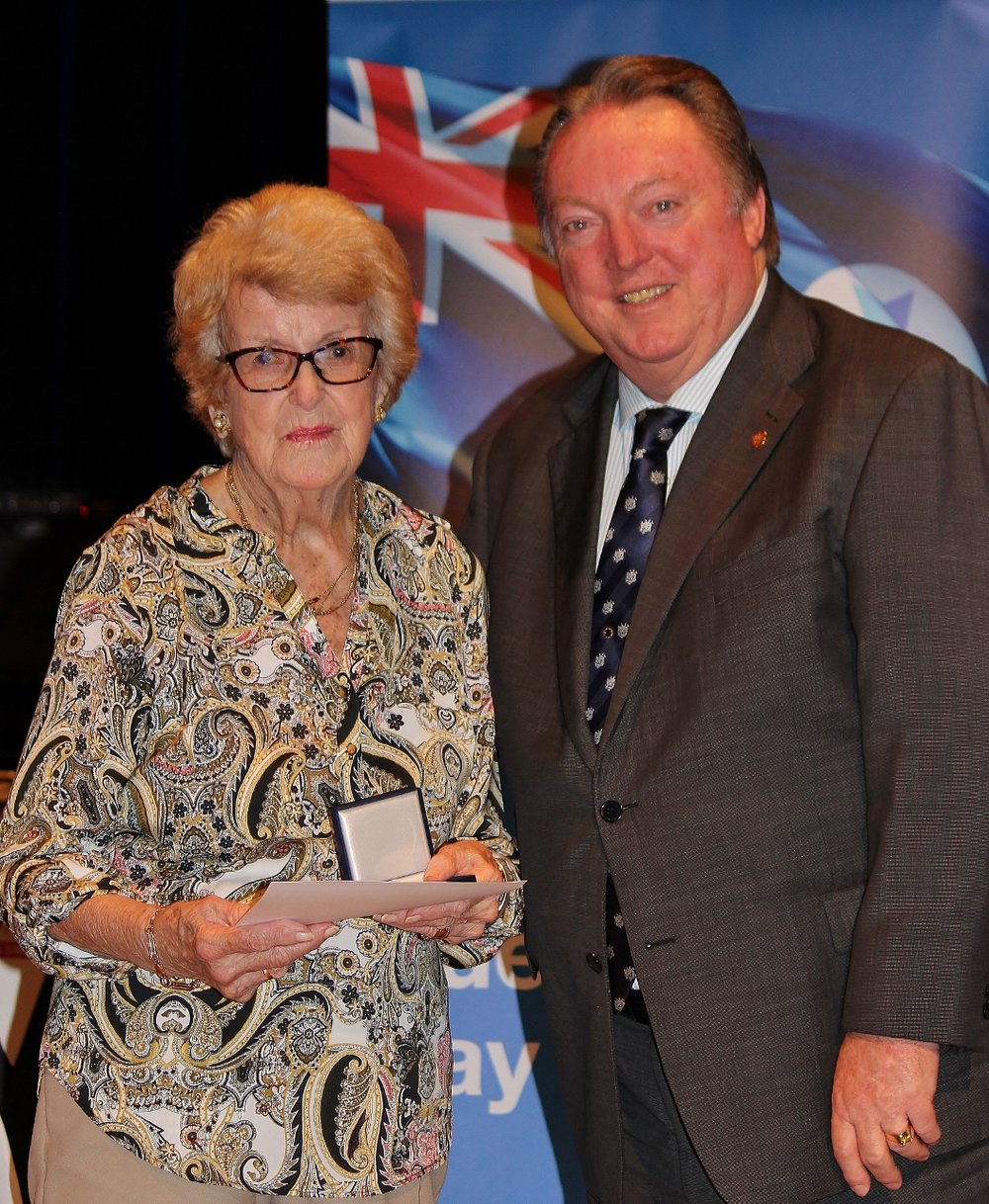 Ninety years young. Beverley Mort celebrates her award with Glen Elmes (1) - Copy.jpg