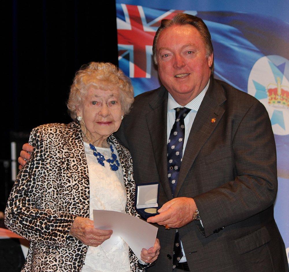 Edna Thorne (96) celebrating her award with Glen Elmes - Copy.jpg