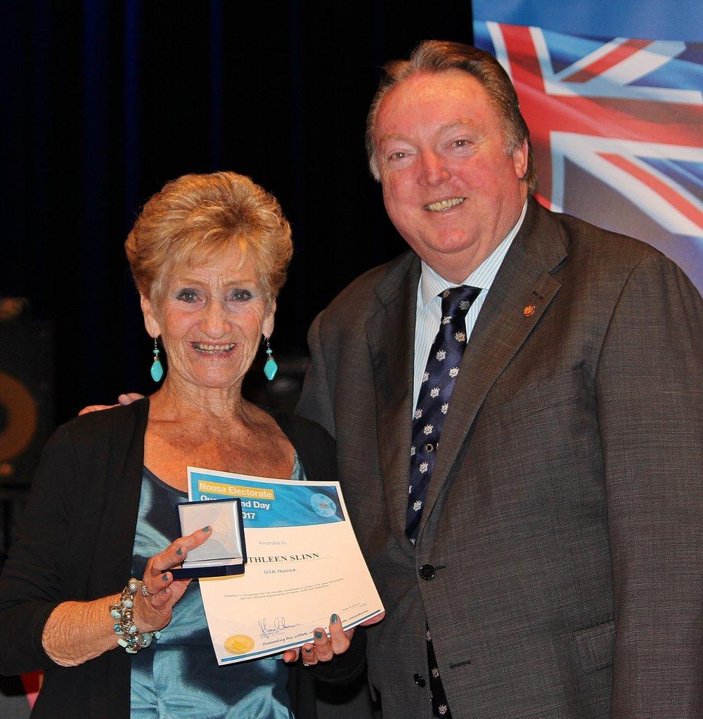 Kathleen Slinn celebrating her award with Glen Elmes (1) - Copy.jpg