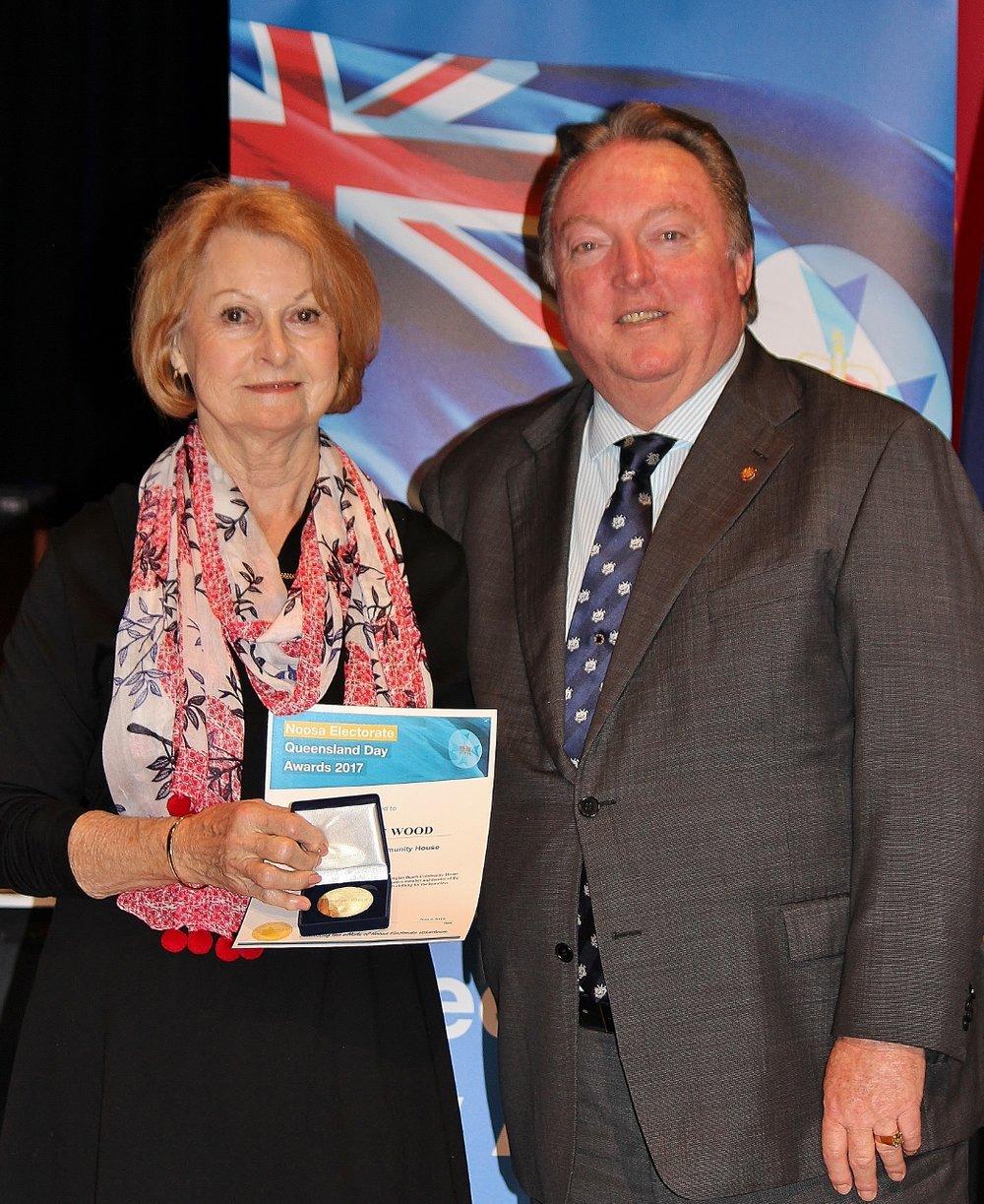 Lorraine Wood celebrates her award with Glen Elmes (1) - Copy.jpg