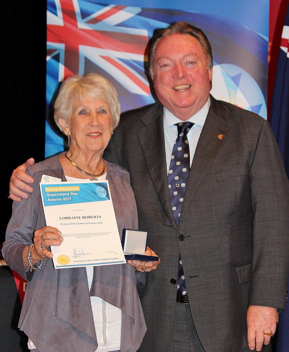 Lorraine Roberts celebrates her award with Glen Elmes (1).jpg