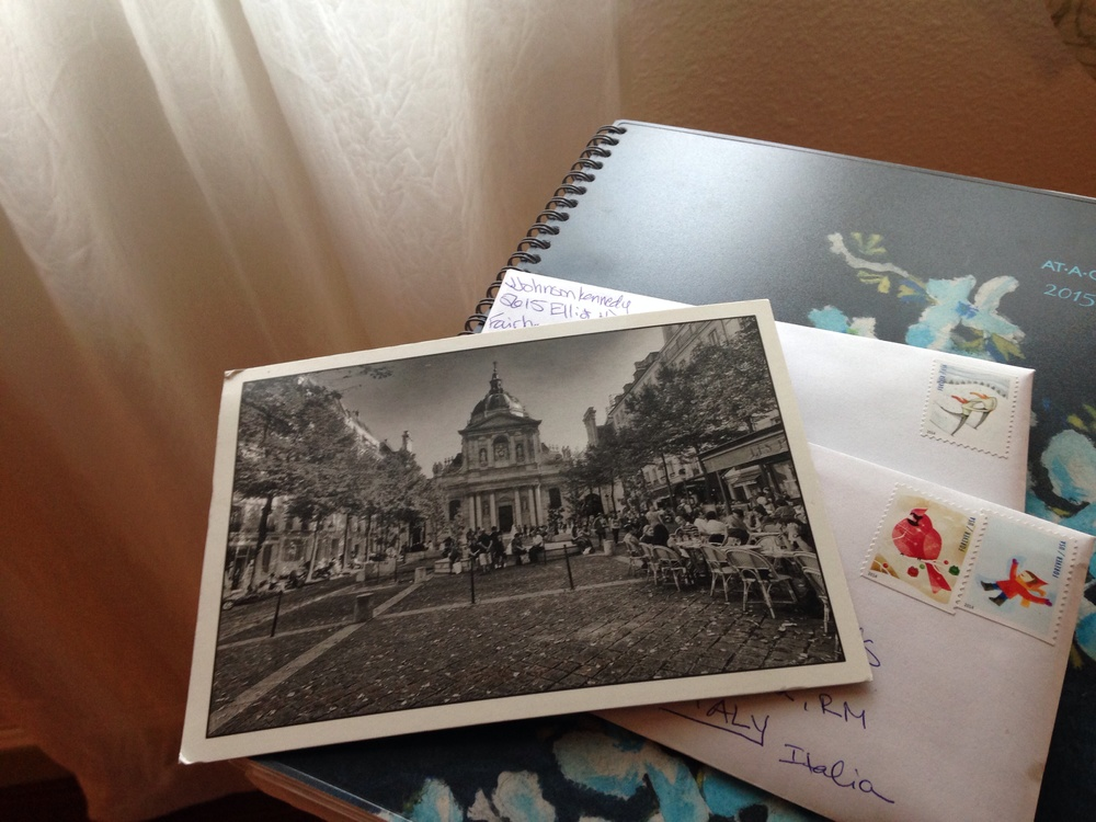 Postcard from Paris; letters to Rome and to Texas.