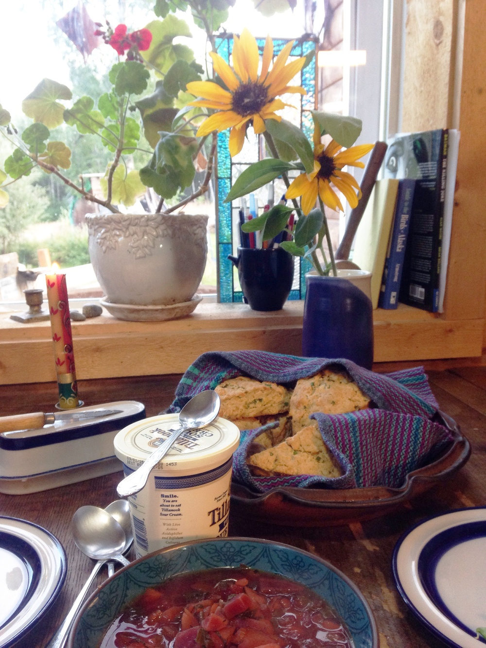 Borscht.  Garden beets.  Cheesy scones with garden chives and garden parsley.