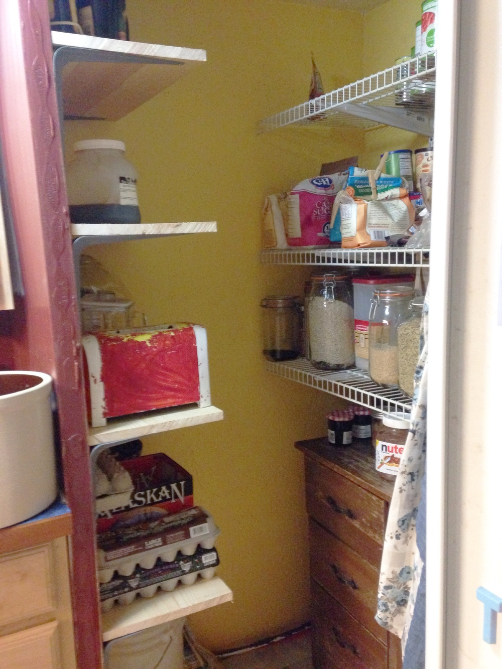 Pantry Shelves : There's a place for things now!  No digging through ridiculous messy piles in cabinets to fish out the toaster, no more inaccessible blenders!