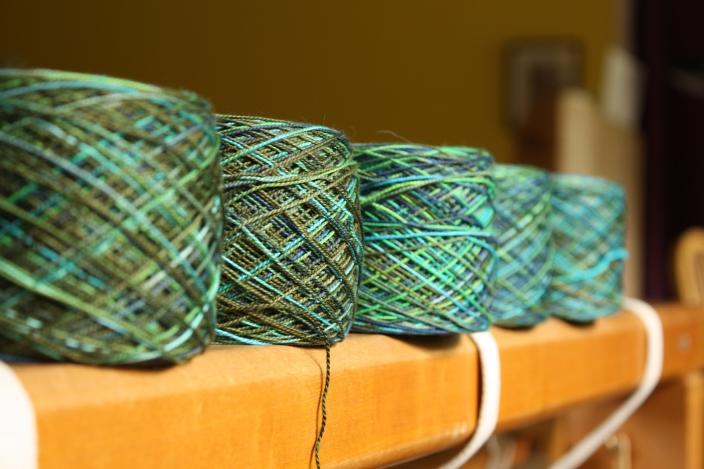 Handdyed yarn for a handpainted baby wrap | 14 Mile Farm Handweaving and Homesteading in Alaska
