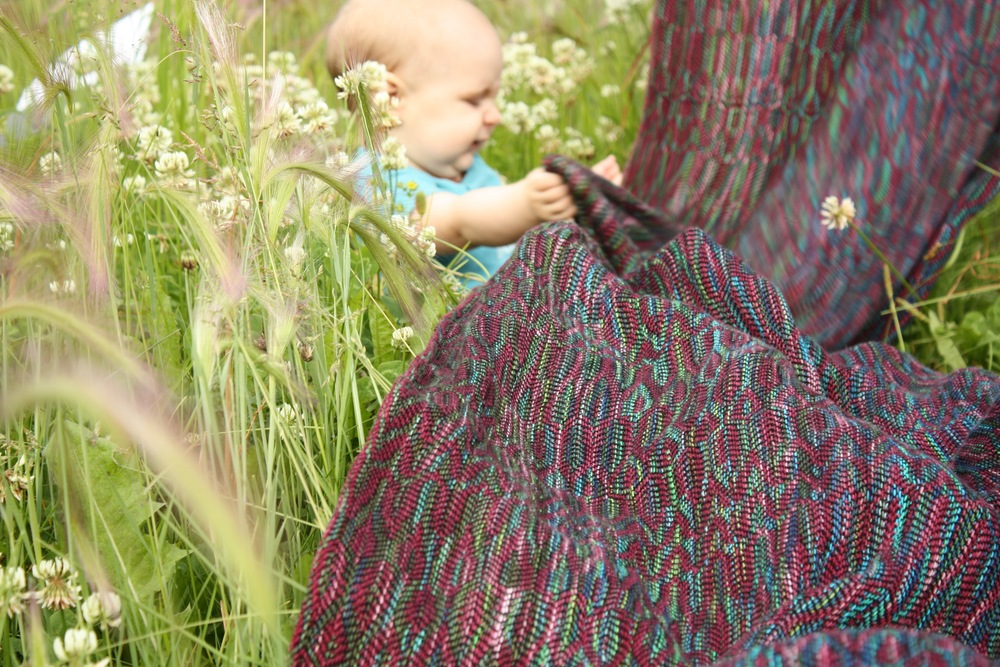 Unconditional was 14 Mile Farm's entry into the Great Competition of Weavers at IBC Atlanta.  A handwoven baby wrap in handpainted jewel tones.