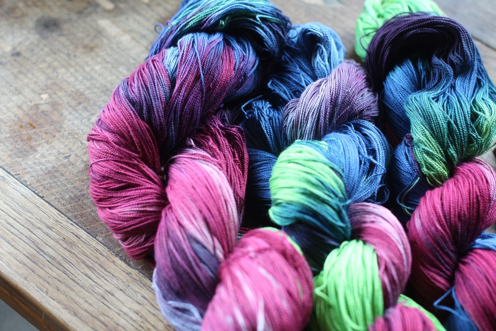 Hand dyed yarn for weft | 14 Mile Farm Handweaving and Homesteading in Alaska