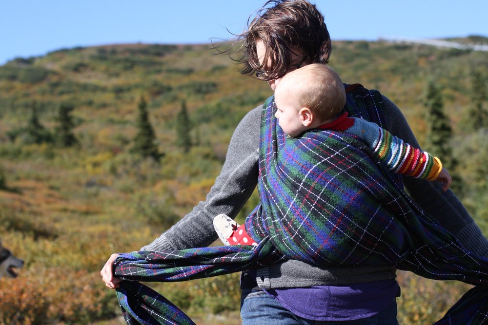 Baby wearing | 14 Mile Farm Handweaving and Homesteading in Alaska