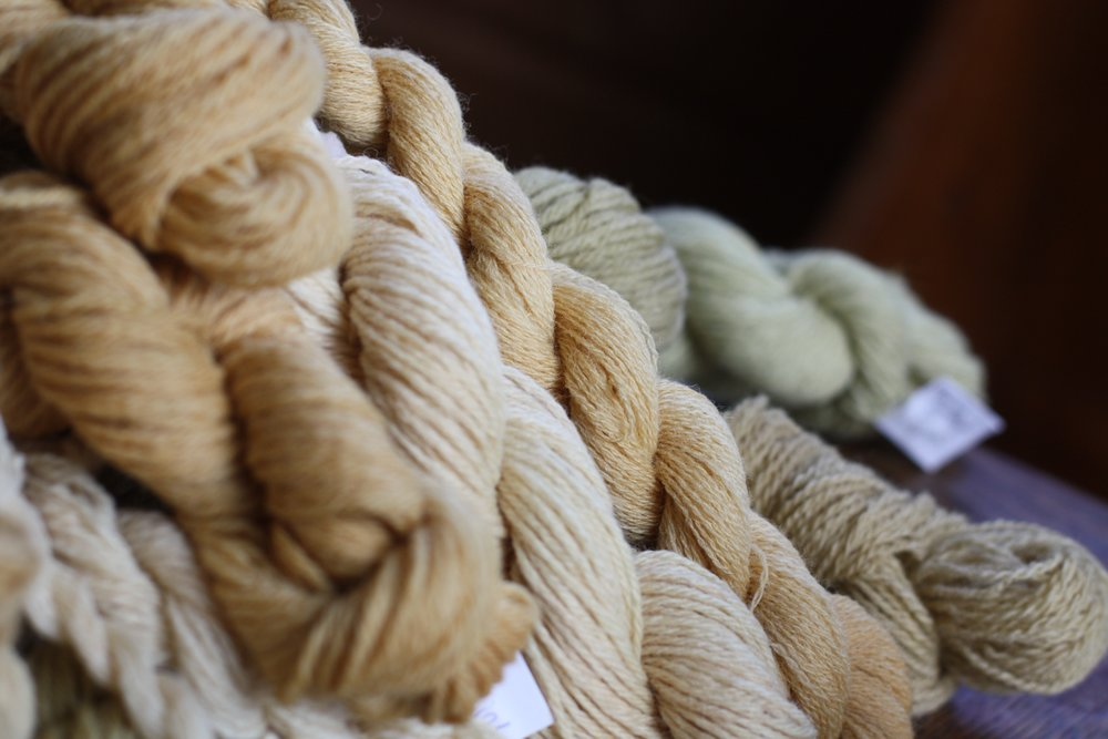 Wool dyed with chokecherry, rosehip, alder, yarrow and walnut | 14 Mile Farm Handweaving and Homesteading in Alaska