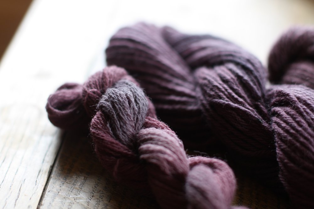 Wool naturally dyed with chokecherry | 14 Mile Farm Handweaving and Homesteading in Alaska