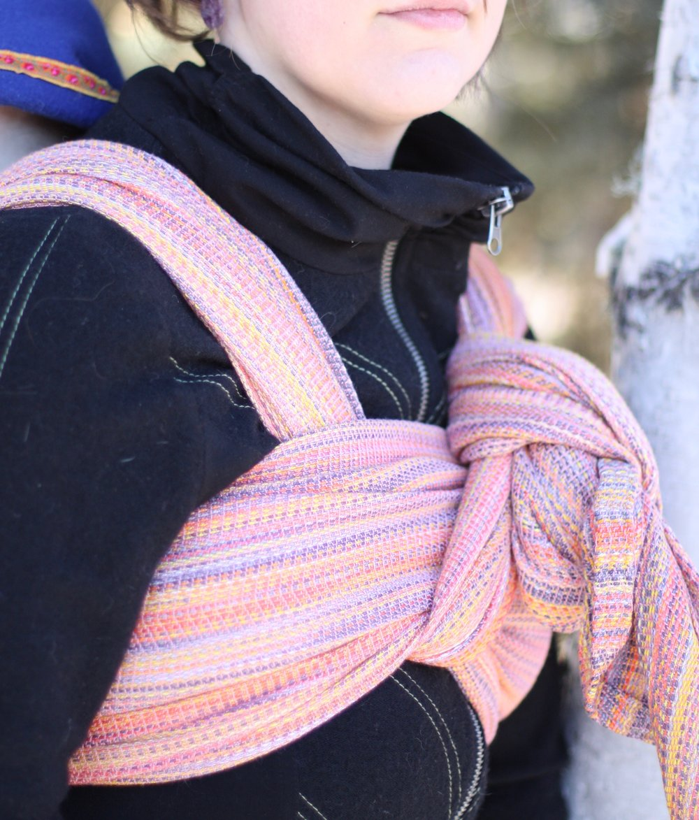 Snowbirding, an autumnal sunset handwoven baby wrap with pink bamboo viscose weft | 14 Mile Farm Handweaving and Homesteading