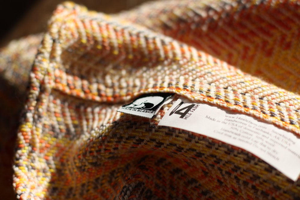Snowbirding, an autumnal sunset handwoven cowl | 14 Mile Farm Handweaving and Homesteading