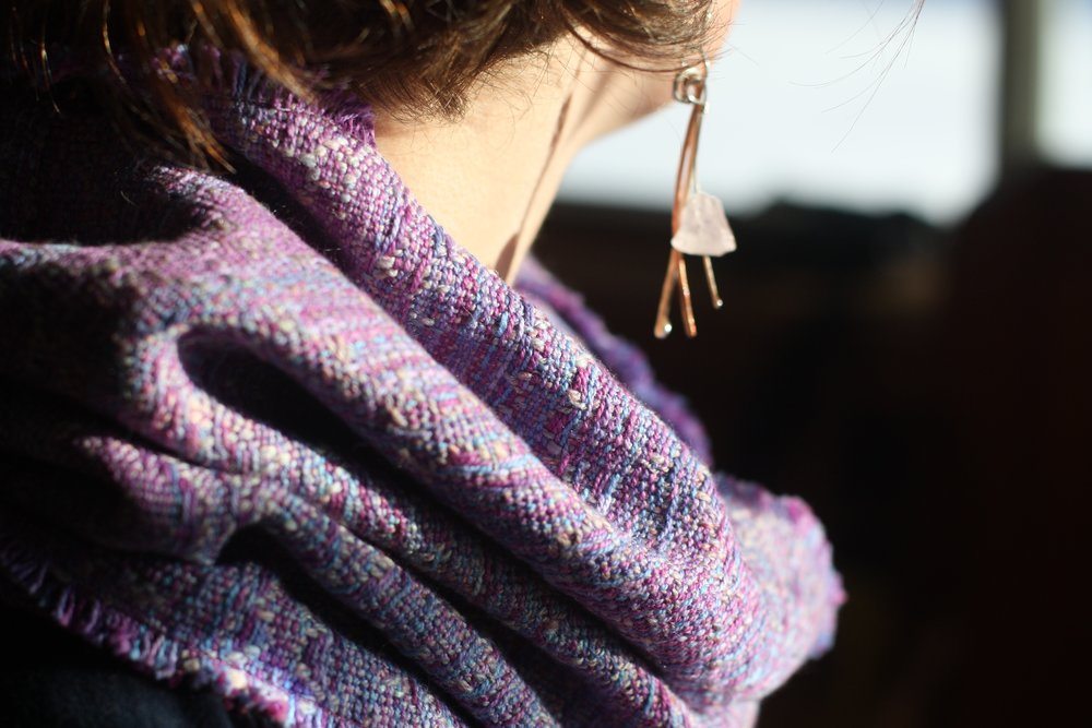 A textured cowl in purples, blues and pinks with a hand spun weft | 14 Mile Farm Handweaving and Homesteading in Alaska