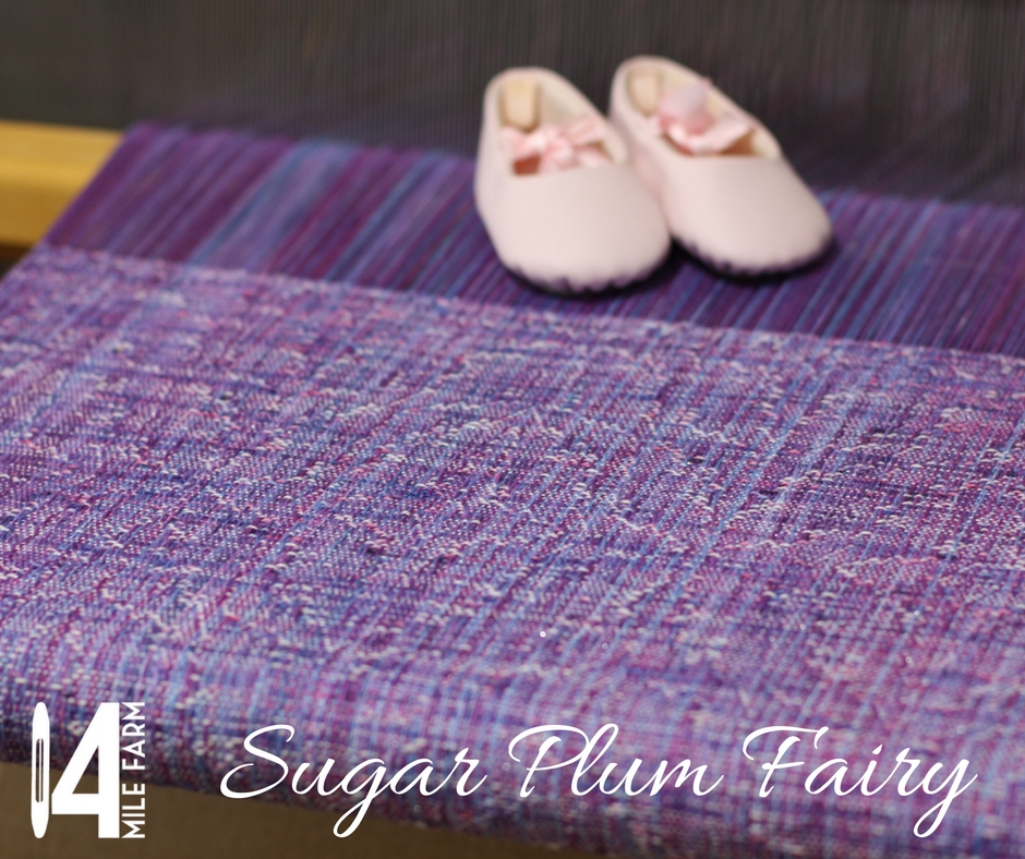 Sugar Plum Fairy on the loom with baby ballet shoes | 14 Mile Farm Handweaving and Homesteading