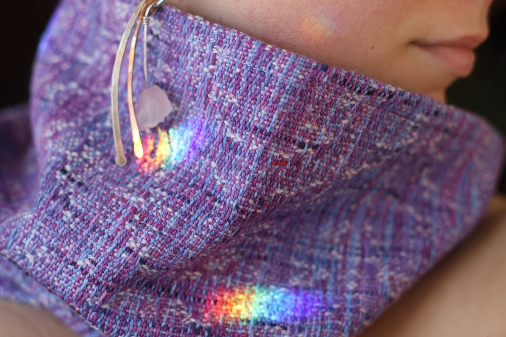 Merino Silk Sparkle weft for a cowl, bedazzled in rainbows | 14 Mile Farm Handweaving and Homesteading in Alaska