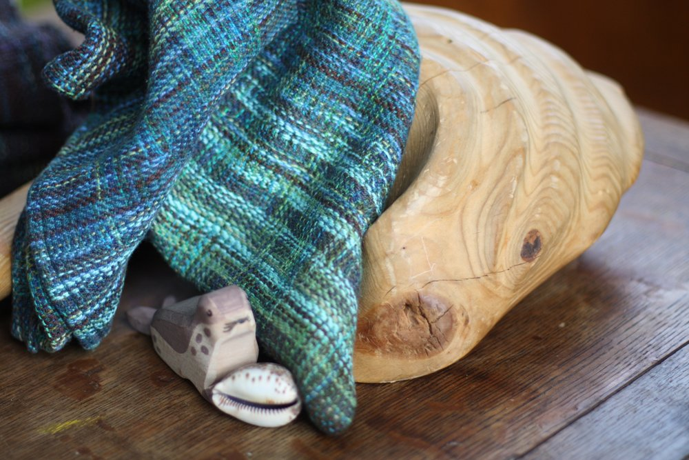 Hand dyed weft lends visual texture to this handwoven wrap scrap cowl | 14 Mile Farm Handweaving and Homesteading in Alaska