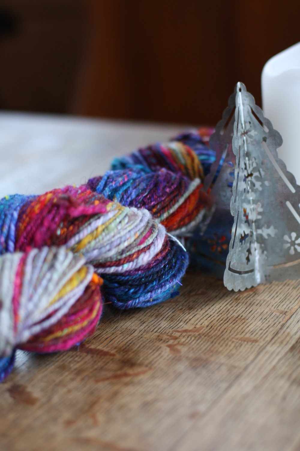 Chain plied worsted weight handspun yarn in gorgesous jewel tones