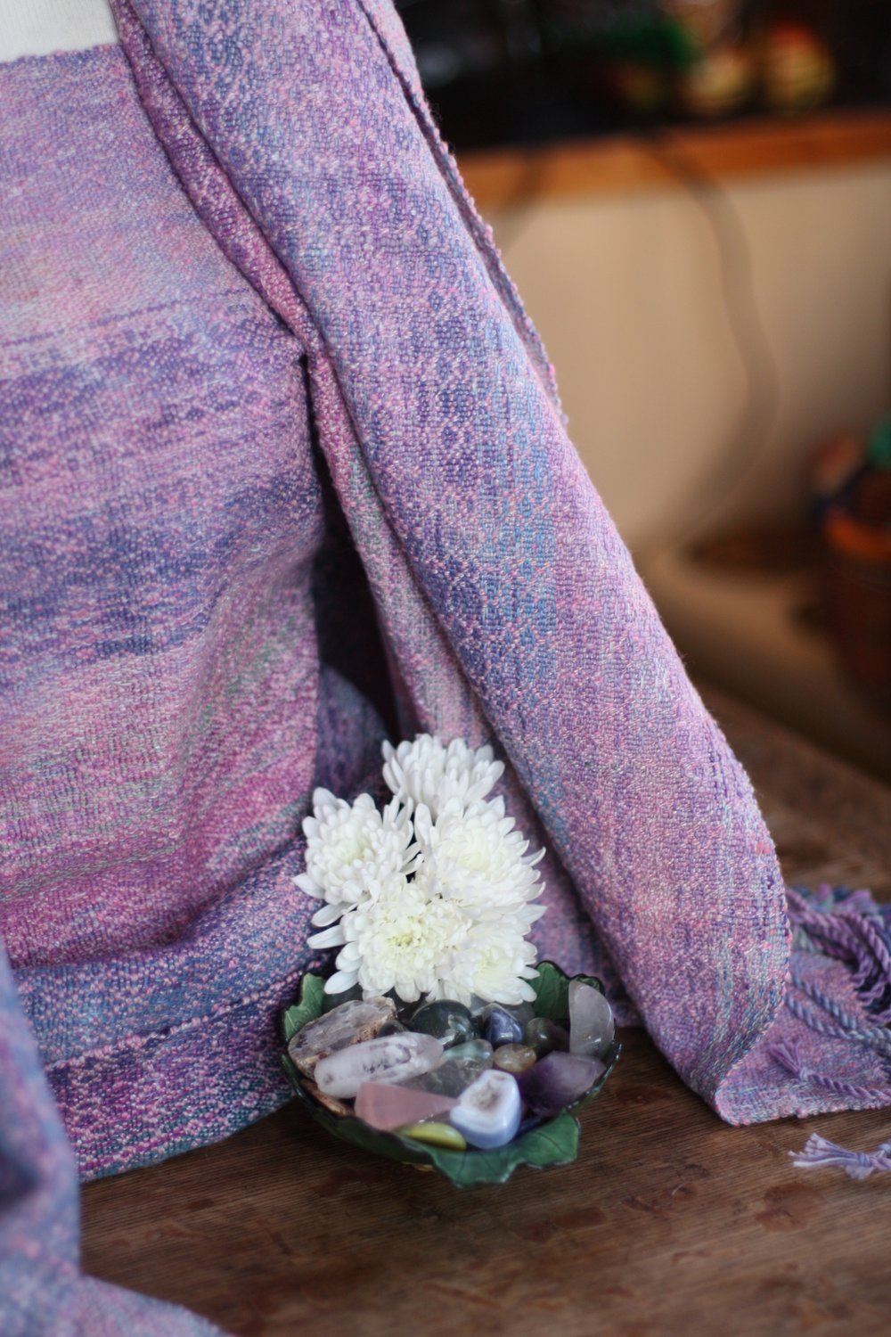 Stones That Heal: Rose Quartz features handspun merino/rose weft in a crackeld twill weave | 14 Mile Farm