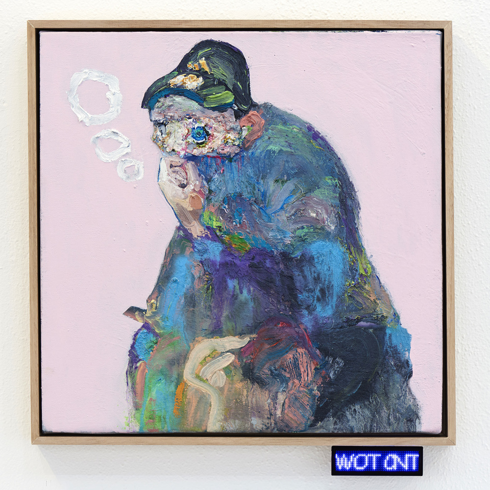 Squat #2  2015 Oil and Acrylic on Canvas, LED Badge  Photo: Henry Whitehead Imaging