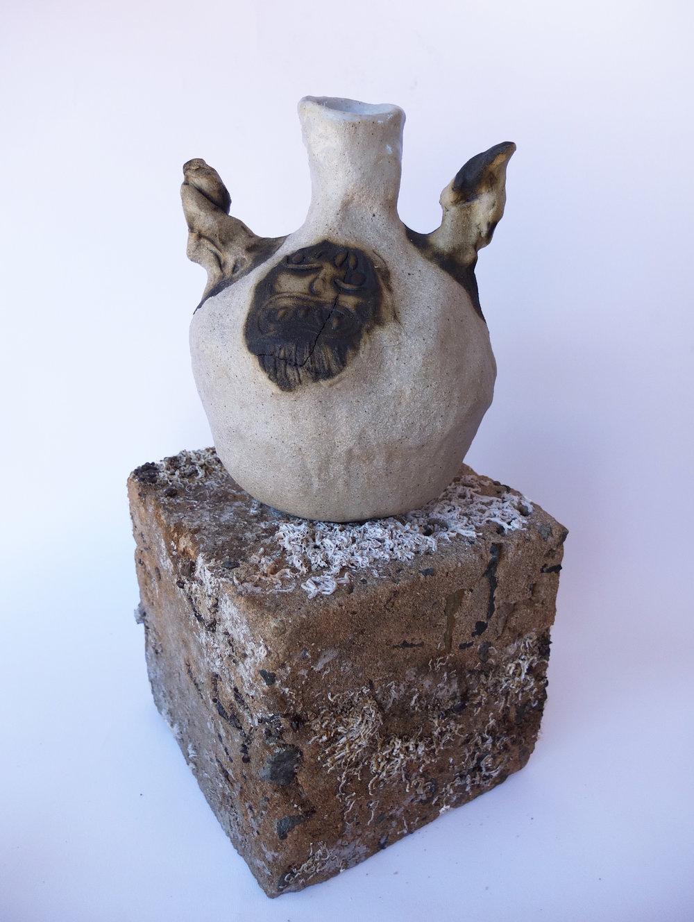 Greybeard Jug   Stoneware, glaze, glaze pencil