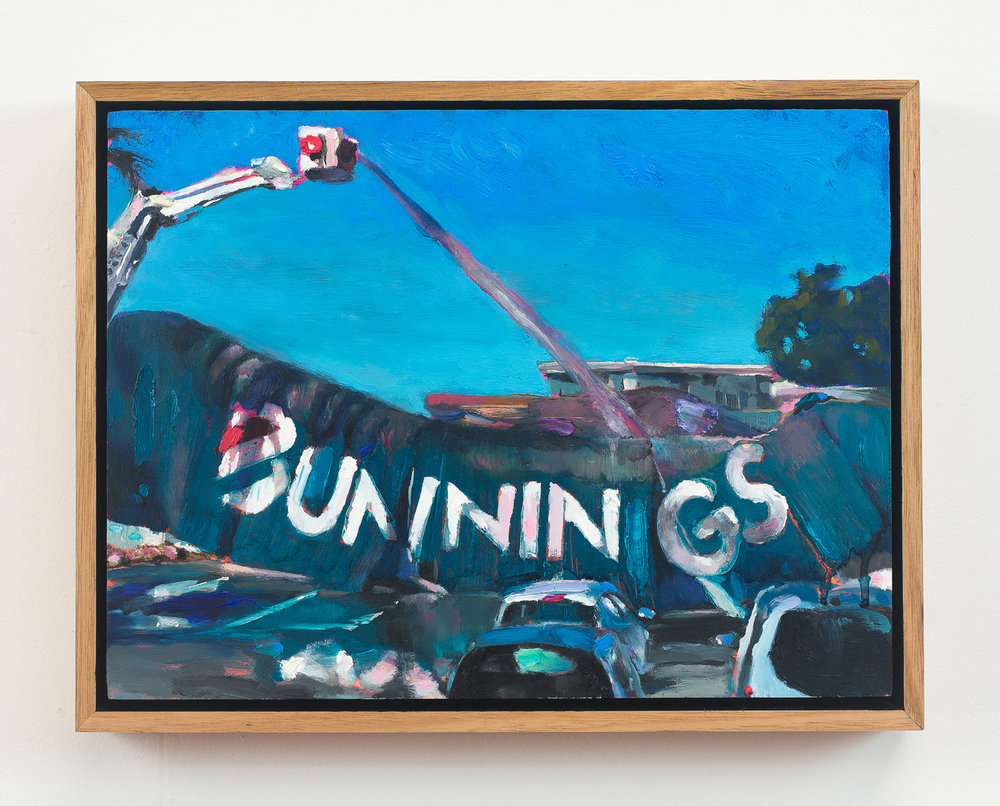 Bunnings Tuesday  2018 Oil on Wood, 25 x 33 cm  Photo: Ethan Blackburn