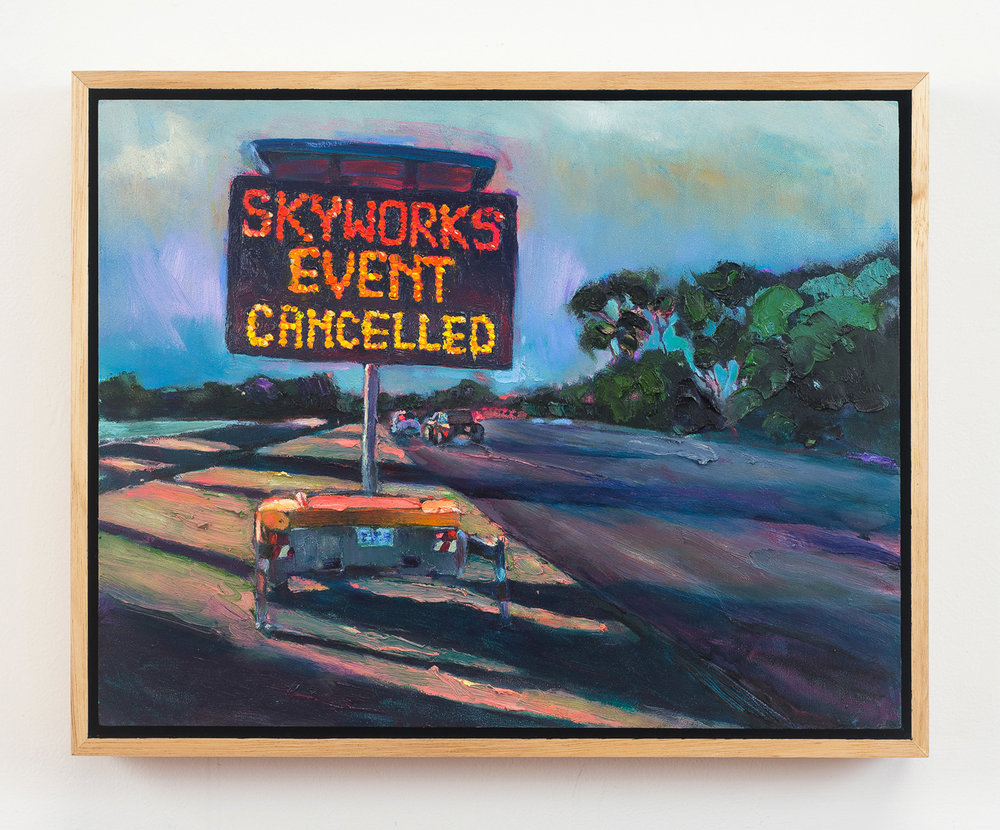 Skyworks Event Cancelled  2018 Oil on Wood, 30 x 38 cm  Photo: Ethan Blackburn
